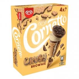 Conos con helado crush brownie Cornetto pack de 4 unidades de 60 g.