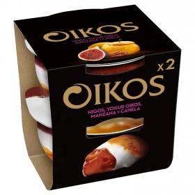 Yogur griego con higos, manzana y canela Danone Oikos pack de 2 unidades de 115 g.