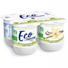 Yogur sabor vainilla ecológico Danone pack de 4 unidades de 125 g.