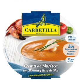 Crema de marisco con merluza y buey de mar Carretilla sin gluten 350 g.