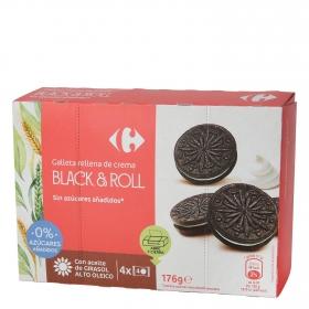 Galletas de chocolate rellenas de crema sin azúcar añadido Carrefour 176 g.