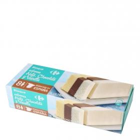 Bloque de helado de nata, cacao y vainilla  Carrefour 1 l.