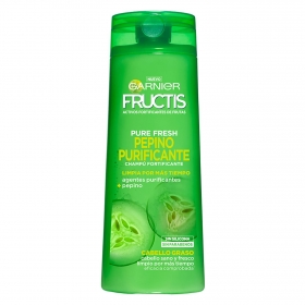 Champú fortificante Pure Fresh Pepino Purificante para cabello graso Garnier-Fructis 360 ml.