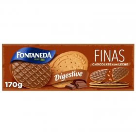 Galletas finas con chocolate con leche Digestive Fontaneda 170 g.
