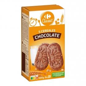 Galletas con cinco cereales y chocolate Carrefour 400 g.