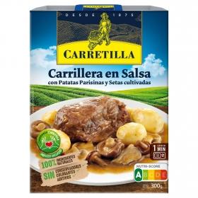 Carrilleras en salsa con patatas y setas Carretilla 300 g.