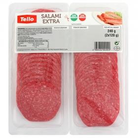 Salami extra loncheado Tello bipack 2 envases 120 g