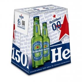 Cerveza Heineken Lager 0,0 sin alcohol pack de 6 botellas de 25 cl.