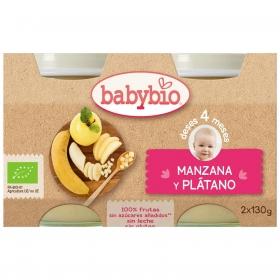 Tarrito de manzana y plátano desde 4 meses sin azúcar añadido ecológico Babybio sin gluten pack de 2 unidades de 130 g.