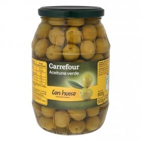 Aceitunas verdes con hueso Carrefour 500 g.