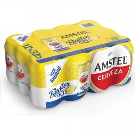 Cerveza Amstel 0,0 sin alcohol Radler con limón pack de 12 latas de 33 cl.