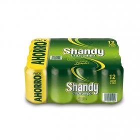 Cerveza Cruzcampo Shandy con limón pack de 12 botellas de 33 cl.