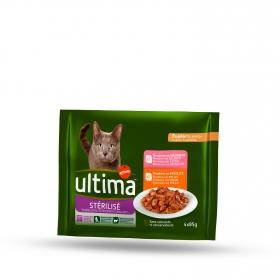 Ultima Comida Húmeda para Gato Esterilizado Sabor pollo y salmón 4x85gr.