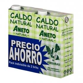 Caldo natural de verduras Aneto sin gluten y sin lactosa pack de 2 unidades de 1 l.