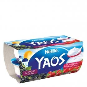 Yogur griego de frambuesa y mora Nestlé Yaos pack de 4 unidades de 110 g.