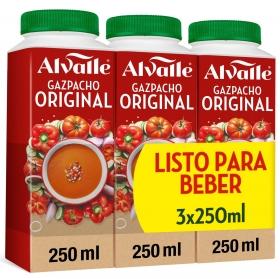 Gazpacho original Alvalle pack de 3 bricks de 250 ml.