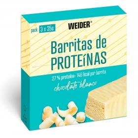 Barritas de proteínas sabor chocolate blanco Weider pack de 3 barritas de 35 g.