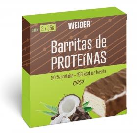 Barritas de proteínas sabor coco Weider pack de 3 barritas de 35 g.