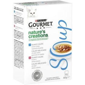 Purina Gourmet Crystal Soup Comida para Gato Atun Natural y Gambas 4x40g