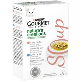 Purina Gourmet Crystal Soup Comida para Gato Salmón Natural y Verduras 4x40g