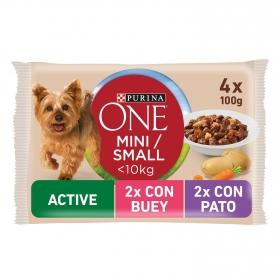 Purina One Mini Active Comida Húmeda para Perros de Buey y Pato 4x100g