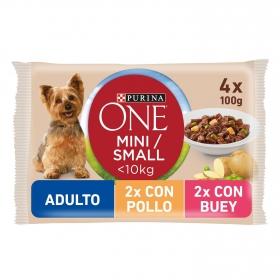 Purina ONE MINI Cómida Húmeda para Perro Adulto Pollo y Buey 4x100g