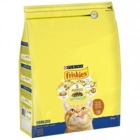 Purina Friskies Pienso para Gatos Esterilizados Gato Adulto Pavo y Verduras 3Kg