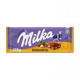 Chocolate con leche y almendras Milka 125 g.