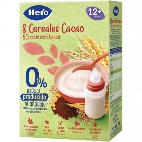 Papilla infantil desde 12 meses 8 Cereales Cacao sin azúcares añadidos Hero Baby sin lactosa sin aceite de palma 340 gr
