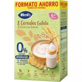 Papilla infantil desde 6 meses 8 Cereales con Galleta sin azúcares añadidos Hero Baby sin lactosa sin aceite de palma 820 gr