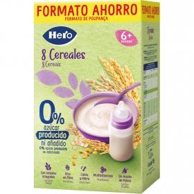 Papilla infantil desde 6 meses 8 Cereales sin azúcares añadidos Hero Baby sin lactosa sin aceite de palma 820 gr