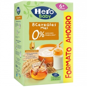 Papilla infantil desde 6 meses 8 cereales con miel sin azúcares añadidos Hero Baby sin lactosa sin aceite de palma 820 g.