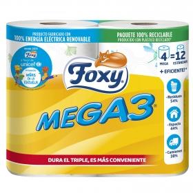 Papel higiénico mega 3 Foxy 4 rollos.