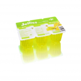 Gelatina sabor limón Jellies Carrefour pack de 6 unidades de 100 g.