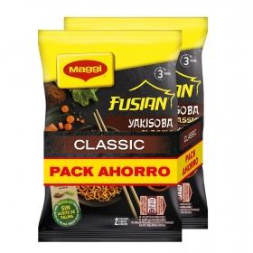 Fideos Yakisoba fussian classic Maggi pack de 2 unidades de 120 g.