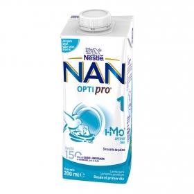 Leche infantil para lactantesdesde el primer día Nestlé Nan Optipro 1 brik 200 ml.