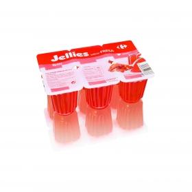 Gelatina sabor fresa jellies Carrefour sin gluten pack de 6 unidades de 100 g.