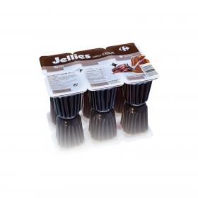 Gelatina sabor cola jellies Carrefour sin gluten pack de 6 unidades de 100 g.