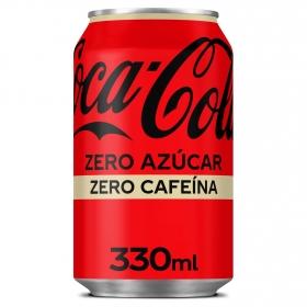 Refresco de cola Coca Cola zero sin cafeína lata 33 cl.