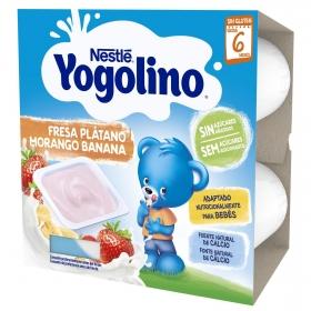 Postre lácteo de fresa y plátano desde 8 meses Nestlé Yogolino sin gluten pack de 4 unidades de 100 g.