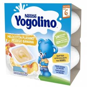 Postre lácteo de melocotón y plátano desde 6 meses Nestlé Yogolino sin gluten pack de 4 unidades de 100 g.