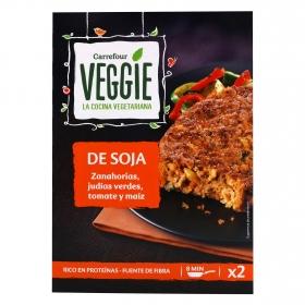 Hamburguesa de soja con verduras Carrefour Veggie pack de 2 unidades de 100 g.