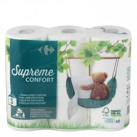 Papel higiénico 5 capas Carrefour 6 rollos.