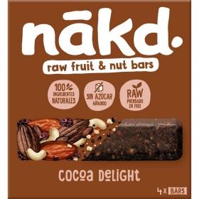 Barrita de frutas y anacardos con cacao sin azúcar añadido Nakd pack de 4 unidades de 35 g.