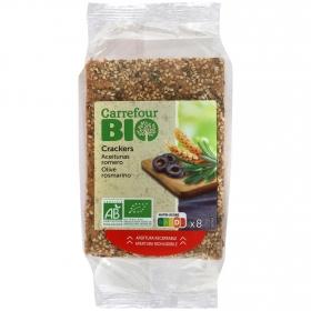 Crackers con aceitunas de romero ecológicos Carrefour Bio 200 g.