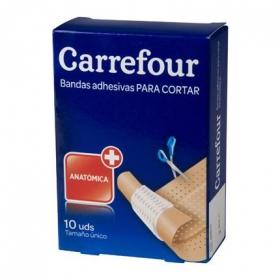 Bandas adhesivas color piel tamaño único 1x6 cm. Carrefour 10 ud.