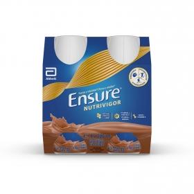 Complemento alimenticio con proteína, vitaminasy minerales de chocolate Ensure pack de 4 unidades de220 ml.