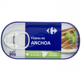Anchoas en aceite de oliva Carrefour 50 g.