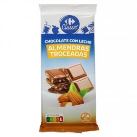 Chocolate con leche y almendras troceadas Carrefour 150 g.