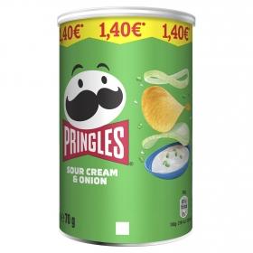 Aperitivo de patata sabor crema agria y cebolla Pringles 70 g.